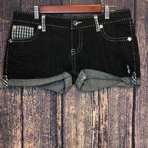 COOGI dark wash cuffed Jean embroidered shorts